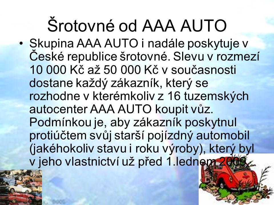 Šrotovné od AAA AUTO Skupina AAA AUTO i nadále poskytuje v České republice šrotovné.