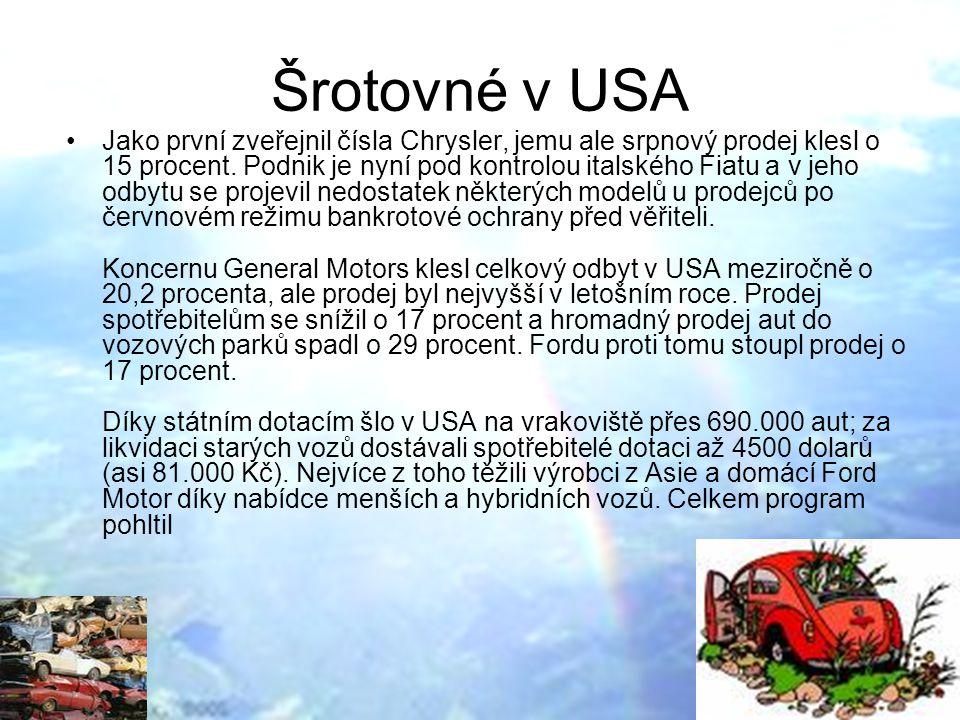 Šrotovné v USA Jako první zveřejnil čísla Chrysler, jemu ale srpnový prodej klesl o 15 procent.