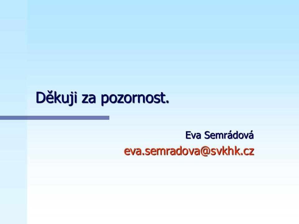 Děkuji za pozornost. Eva Semrádová eva.semradova@svkhk.cz