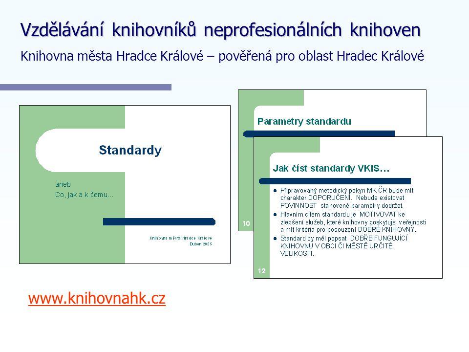 www.knihovnahk.cz Vzdělávání knihovníků neprofesionálních knihoven Knihovna města Hradce Králové – pověřená pro oblast Hradec Králové