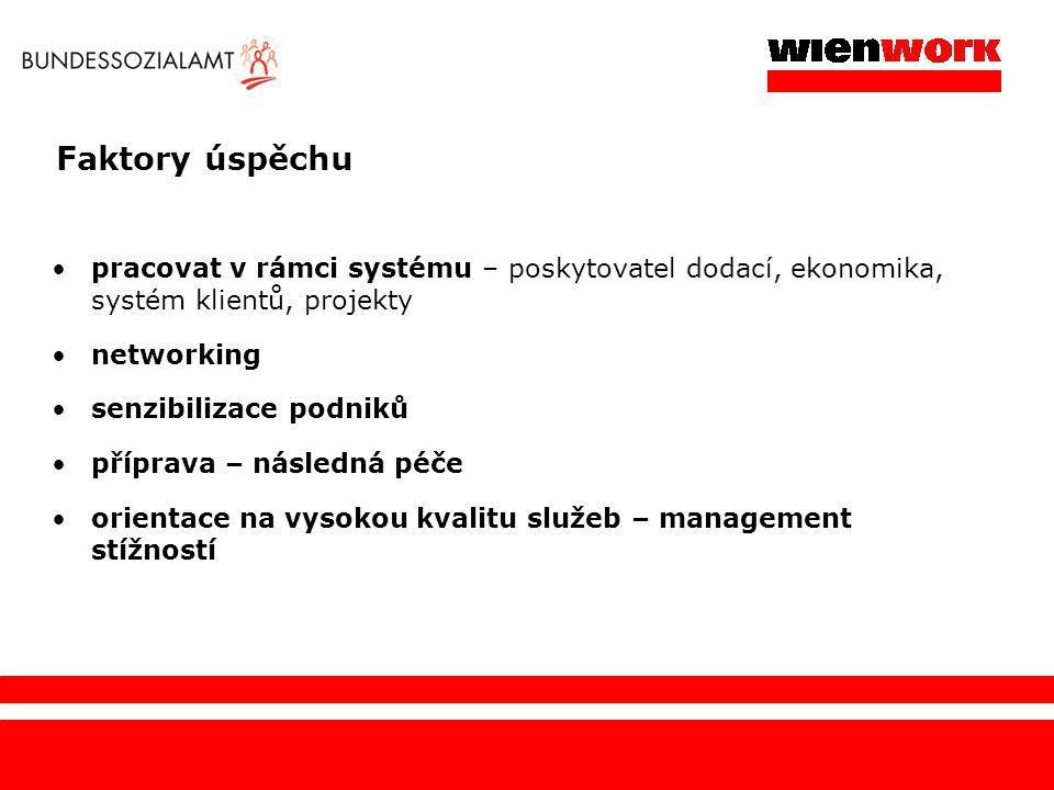 Faktory úspěchu pracovat v rámci systému – poskytovatel dodací, ekonomika, systém klientů, projekty networking senzibilizace podniků příprava – násled