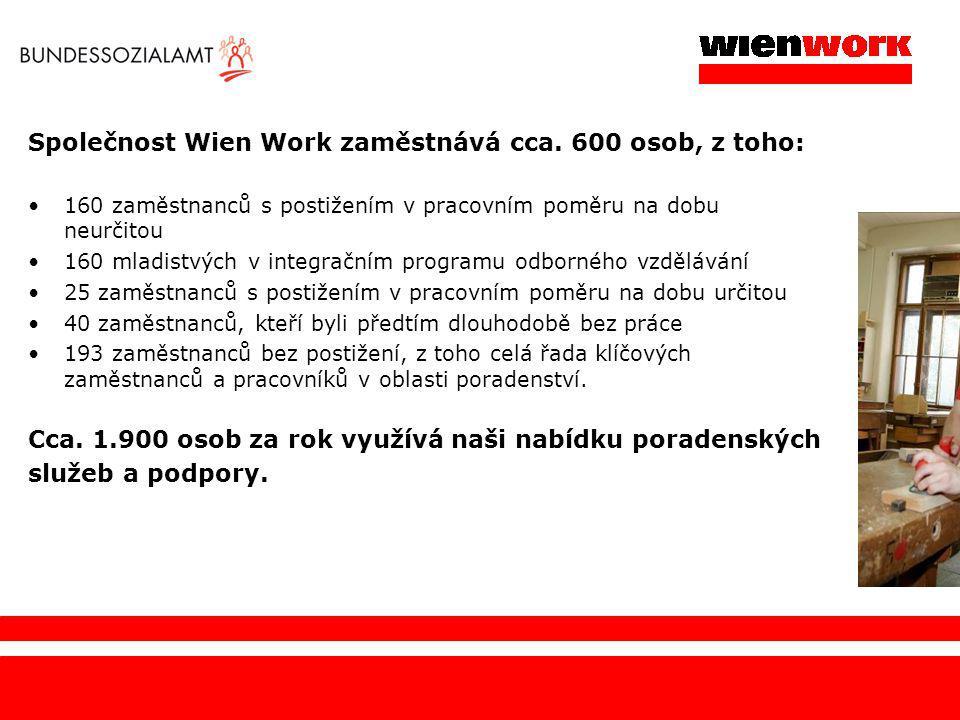 Společnost Wien Work zaměstnává cca. 600 osob, z toho: 160 zaměstnanců s postižením v pracovním poměru na dobu neurčitou 160 mladistvých v integračním