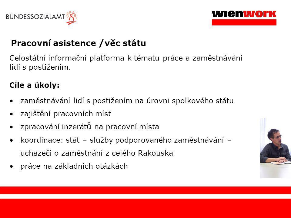 Pracovní asistence / věc státu Celostátní informační platforma k tématu práce a zaměstnávání lidí s postižením. Cíle a úkoly: zaměstnávání lidí s post