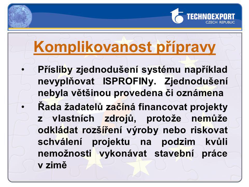 Přísliby zjednodušení systému například nevyplňovat ISPROFINy. Zjednodušení nebyla většinou provedena či oznámena Řada žadatelů začíná financovat proj