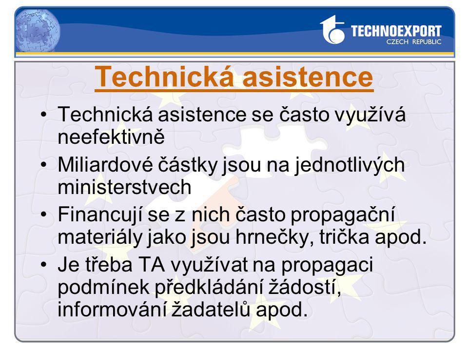 Technická asistence se často využívá neefektivně Miliardové částky jsou na jednotlivých ministerstvech Financují se z nich často propagační materiály