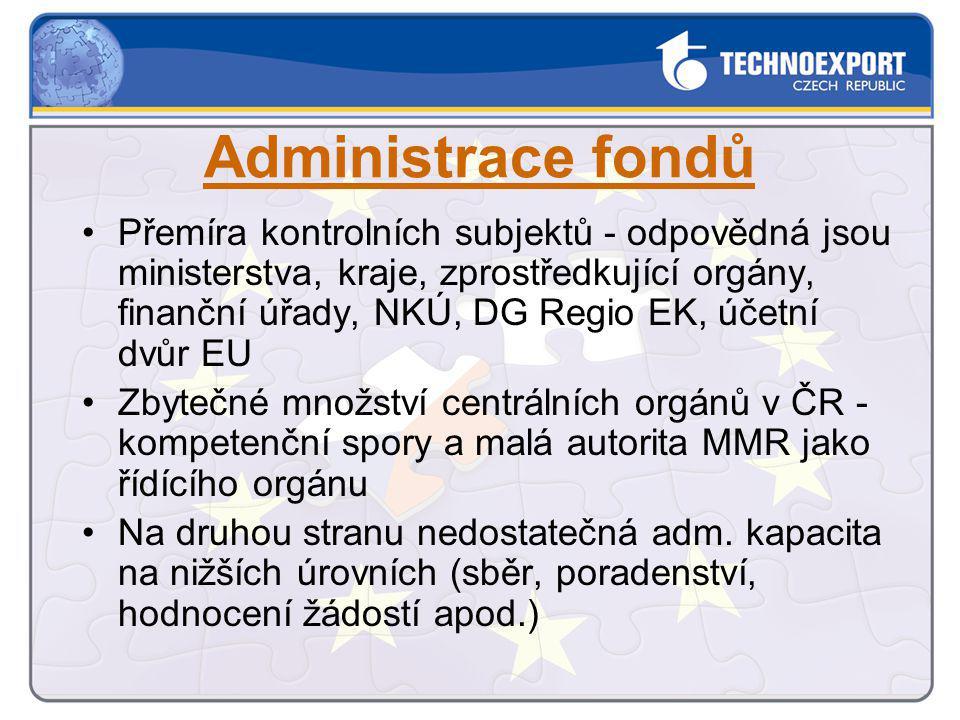 Administrace fondů Přemíra kontrolních subjektů - odpovědná jsou ministerstva, kraje, zprostředkující orgány, finanční úřady, NKÚ, DG Regio EK, účetní