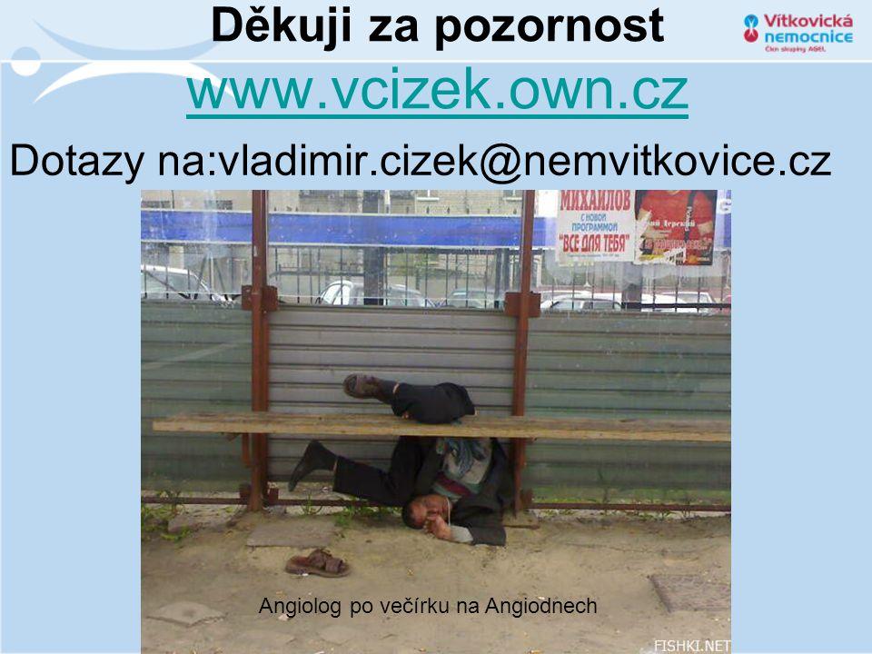 Děkuji za pozornost www.vcizek.own.cz www.vcizek.own.cz Dotazy na:vladimir.cizek@nemvitkovice.cz Angiolog po večírku na Angiodnech