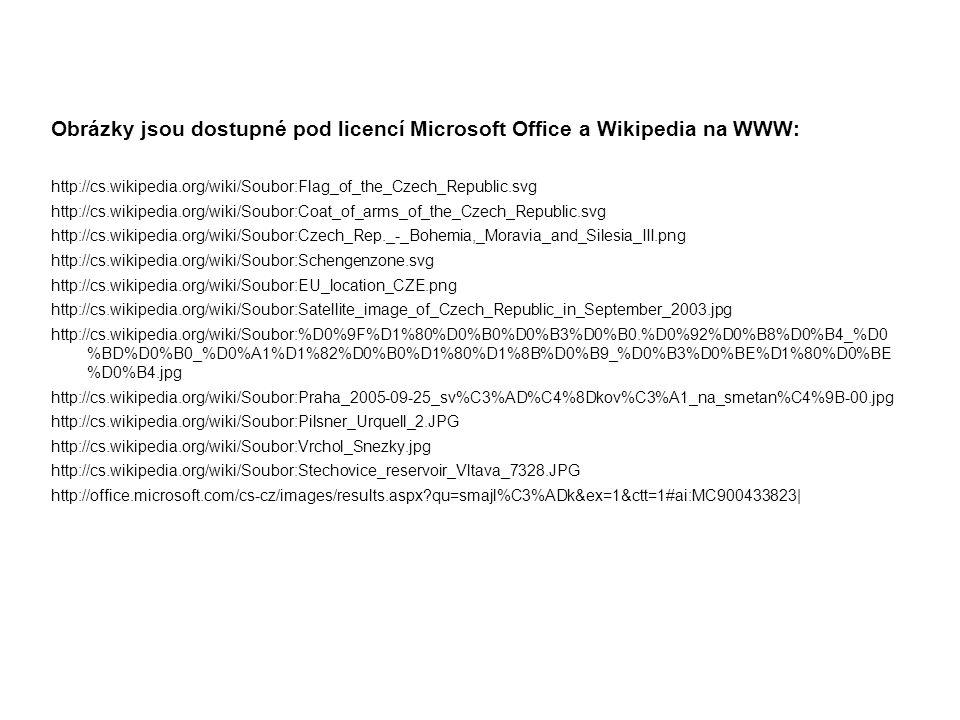 Obrázky jsou dostupné pod licencí Microsoft Office a Wikipedia na WWW: http://cs.wikipedia.org/wiki/Soubor:Flag_of_the_Czech_Republic.svg http://cs.wi