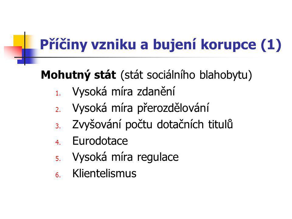 Příčiny vzniku a bujení korupce (1) Mohutný stát (stát sociálního blahobytu) 1.