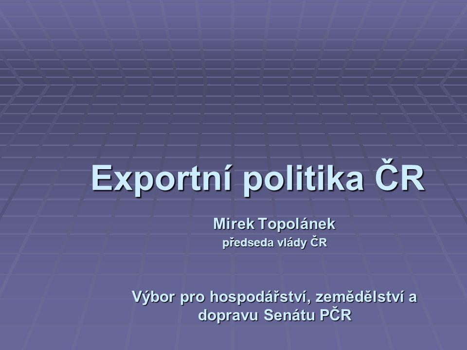 Exportní politika ČR Mirek Topolánek předseda vlády ČR Výbor pro hospodářství, zemědělství a dopravu Senátu PČR