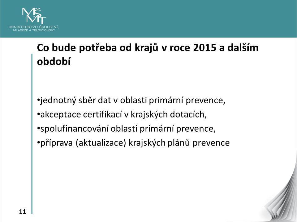 11 Co bude potřeba od krajů v roce 2015 a dalším období jednotný sběr dat v oblasti primární prevence, akceptace certifikací v krajských dotacích, spo