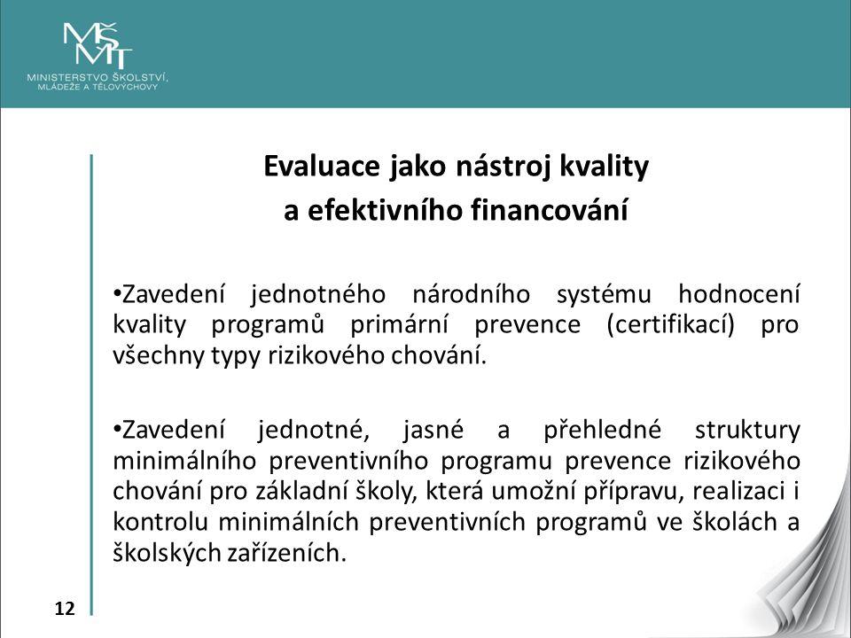 12 Evaluace jako nástroj kvality a efektivního financování Zavedení jednotného národního systému hodnocení kvality programů primární prevence (certifi