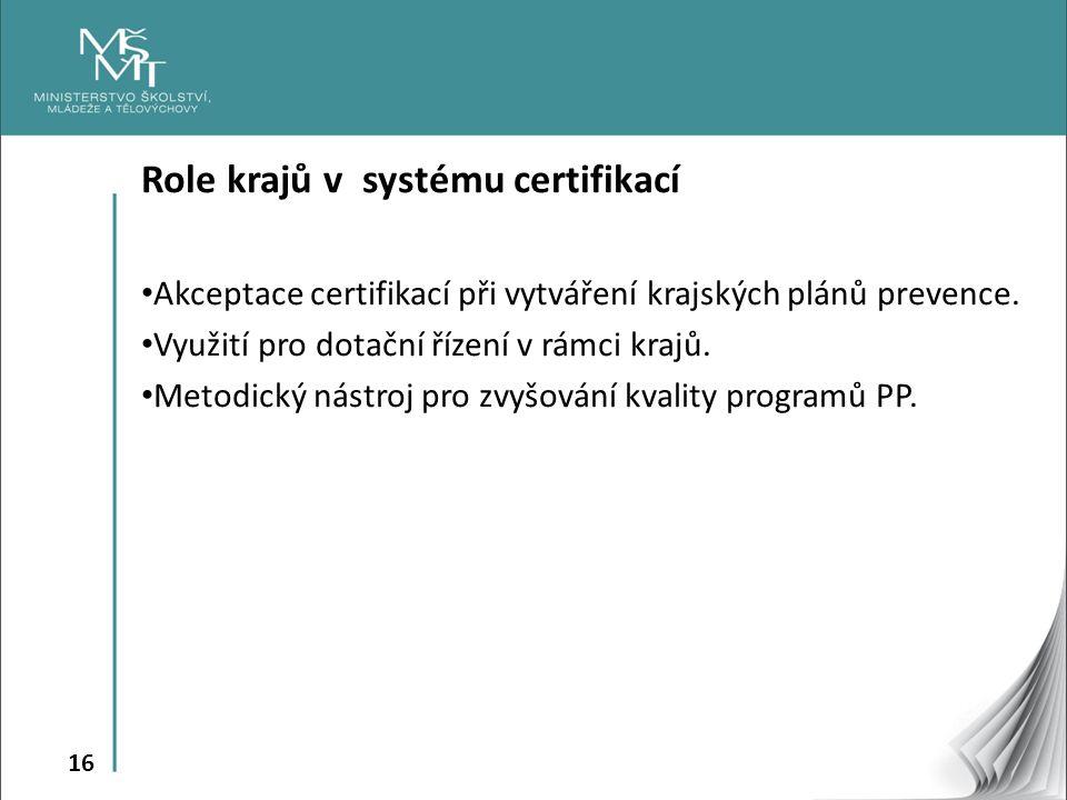 16 Role krajů v systému certifikací Akceptace certifikací při vytváření krajských plánů prevence. Využití pro dotační řízení v rámci krajů. Metodický