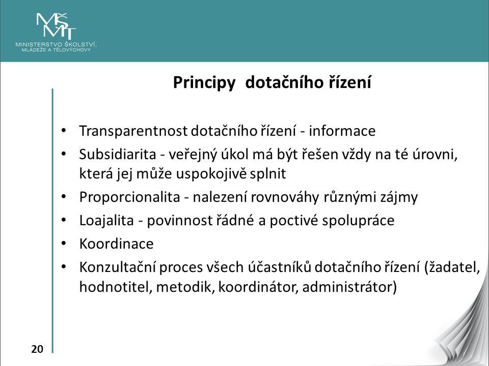 20 Principy dotačního řízení Transparentnost dotačního řízení - informace Subsidiarita - veřejný úkol má být řešen vždy na té úrovni, která jej může u