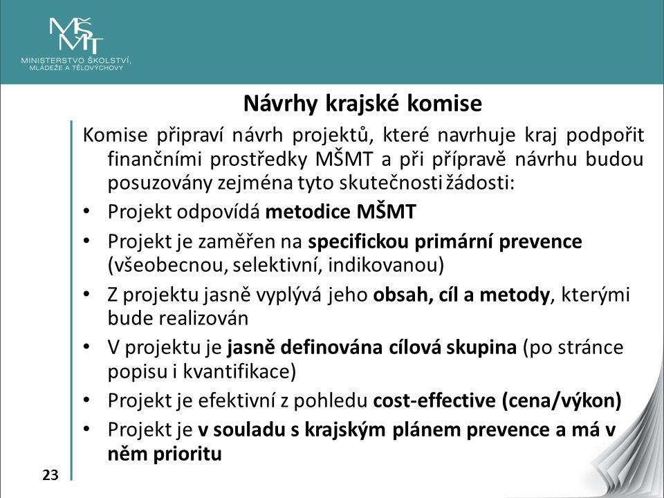 23 Návrhy krajské komise Komise připraví návrh projektů, které navrhuje kraj podpořit finančními prostředky MŠMT a při přípravě návrhu budou posuzován