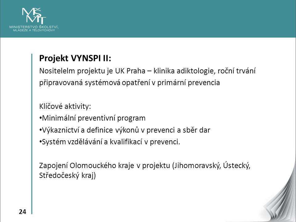 24 Projekt VYNSPI II: Nositelelm projektu je UK Praha – klinika adiktologie, roční trvání připravovaná systémová opatření v primární prevencia Klíčové