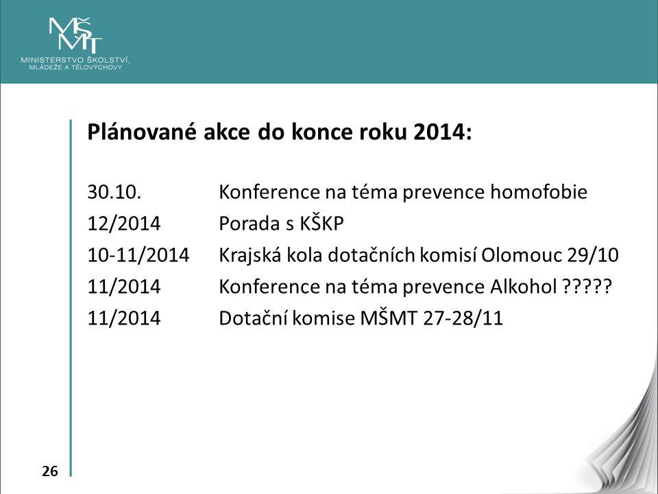 26 Plánované akce do konce roku 2014: 30.10. Konference na téma prevence homofobie 12/2014 Porada s KŠKP 10-11/2014 Krajská kola dotačních komisí Olom