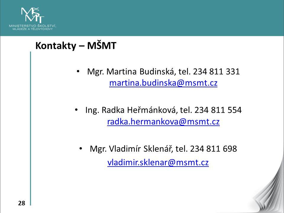 28 Kontakty – MŠMT Mgr. Martina Budinská, tel. 234 811 331 martina.budinska@msmt.cz martina.budinska@msmt.cz Ing. Radka Heřmánková, tel. 234 811 554 r