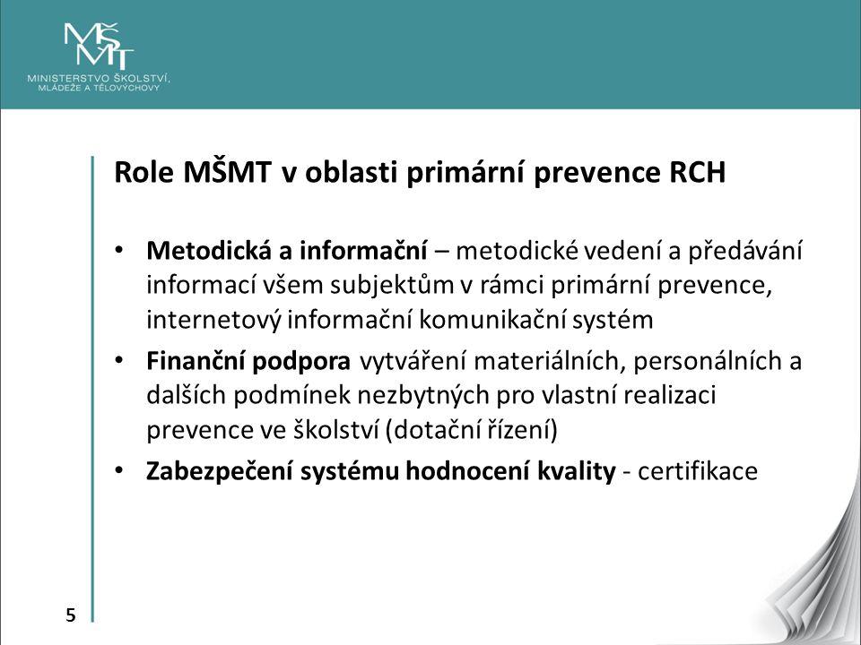 5 Role MŠMT v oblasti primární prevence RCH Metodická a informační – metodické vedení a předávání informací všem subjektům v rámci primární prevence,