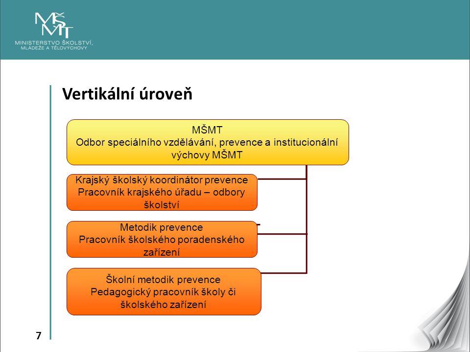 7 Vertikální úroveň MŠMT Odbor speciálního vzdělávání, prevence a institucionální výchovy MŠMT Krajský školský koordinátor prevence Pracovník krajskéh