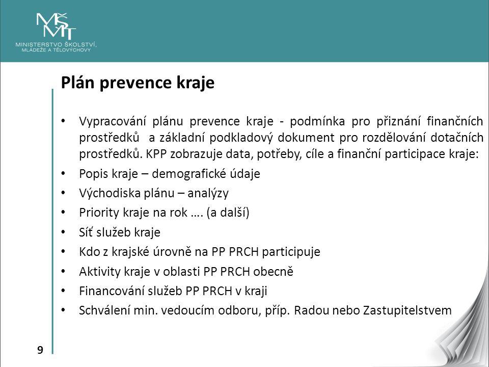 9 Plán prevence kraje Vypracování plánu prevence kraje - podmínka pro přiznání finančních prostředků a základní podkladový dokument pro rozdělování do