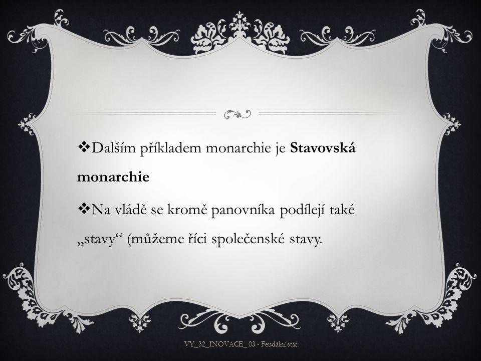 """ Dalším příkladem monarchie je Stavovská monarchie  Na vládě se kromě panovníka podílejí také """"stavy (můžeme říci společenské stavy."""