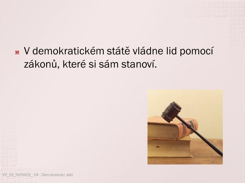  V demokratickém státě vládne lid pomocí zákonů, které si sám stanoví. VY_32_INOVACE_ 04 - Demokratický stát