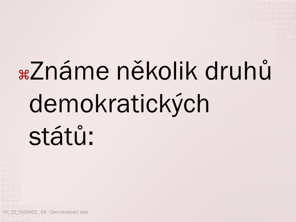  Známe několik druhů demokratických států: VY_32_INOVACE_ 04 - Demokratický stát