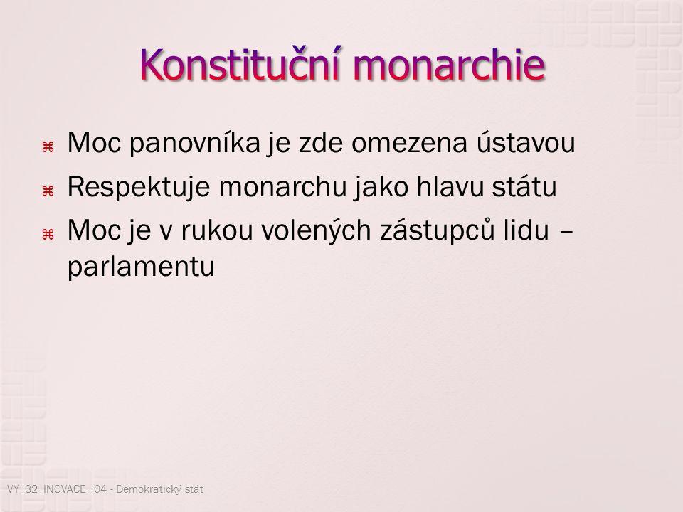  Moc panovníka je zde omezena ústavou  Respektuje monarchu jako hlavu státu  Moc je v rukou volených zástupců lidu – parlamentu VY_32_INOVACE_ 04 -
