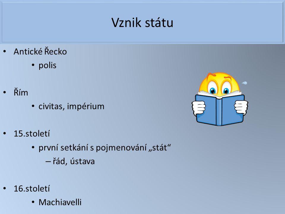 """Vznik státu Antické Řecko polis Řím civitas, impérium 15.století první setkání s pojmenování """"stát"""" – řád, ústava 16.století Machiavelli"""