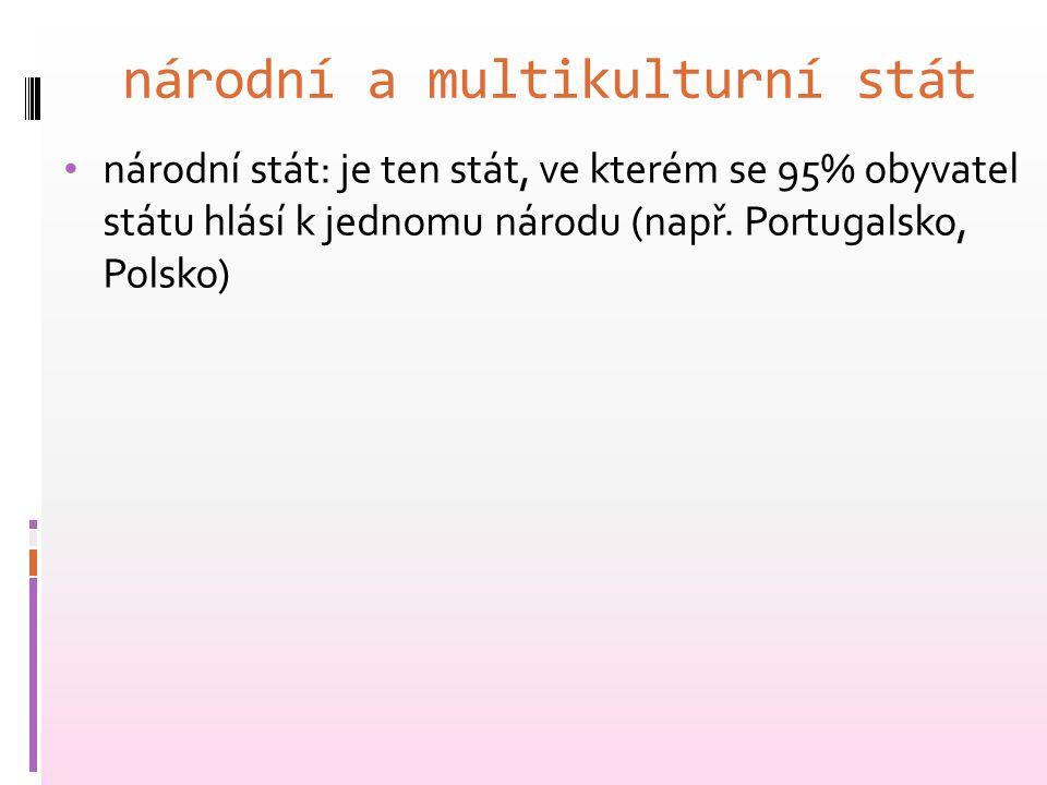národní a multikulturní stát národní stát: je ten stát, ve kterém se 95% obyvatel státu hlásí k jednomu národu (např. Portugalsko, Polsko)