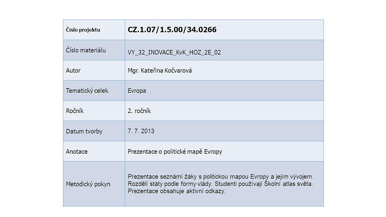 Číslo projektu CZ.1.07/1.5.00/34.0266 Číslo materiálu VY_32_INOVACE_KvK_HOZ_2E_02 Autor Mgr. Kateřina Kočvarová Tematický celek Evropa Ročník 2. r očn