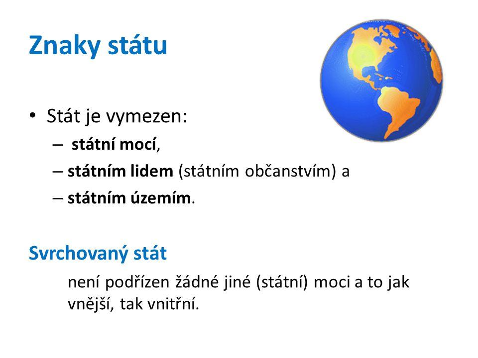 Znaky státu Stát je vymezen: – státní mocí, – státním lidem (státním občanstvím) a – státním územím. Svrchovaný stát není podřízen žádné jiné (státní)