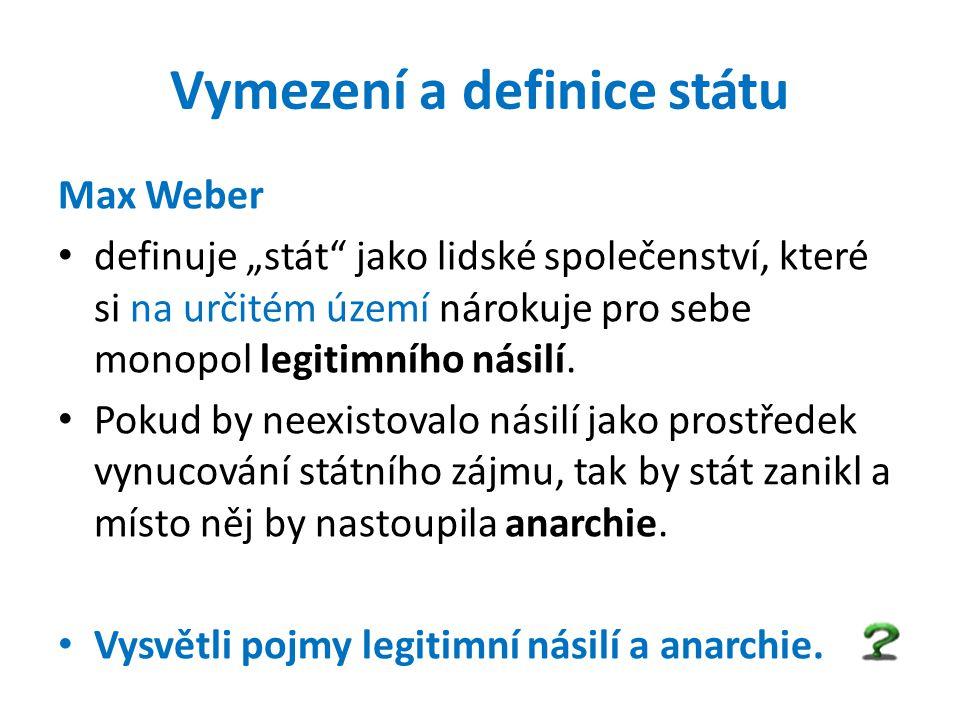 """Vymezení a definice státu Max Weber definuje """"stát"""" jako lidské společenství, které si na určitém území nárokuje pro sebe monopol legitimního násilí."""
