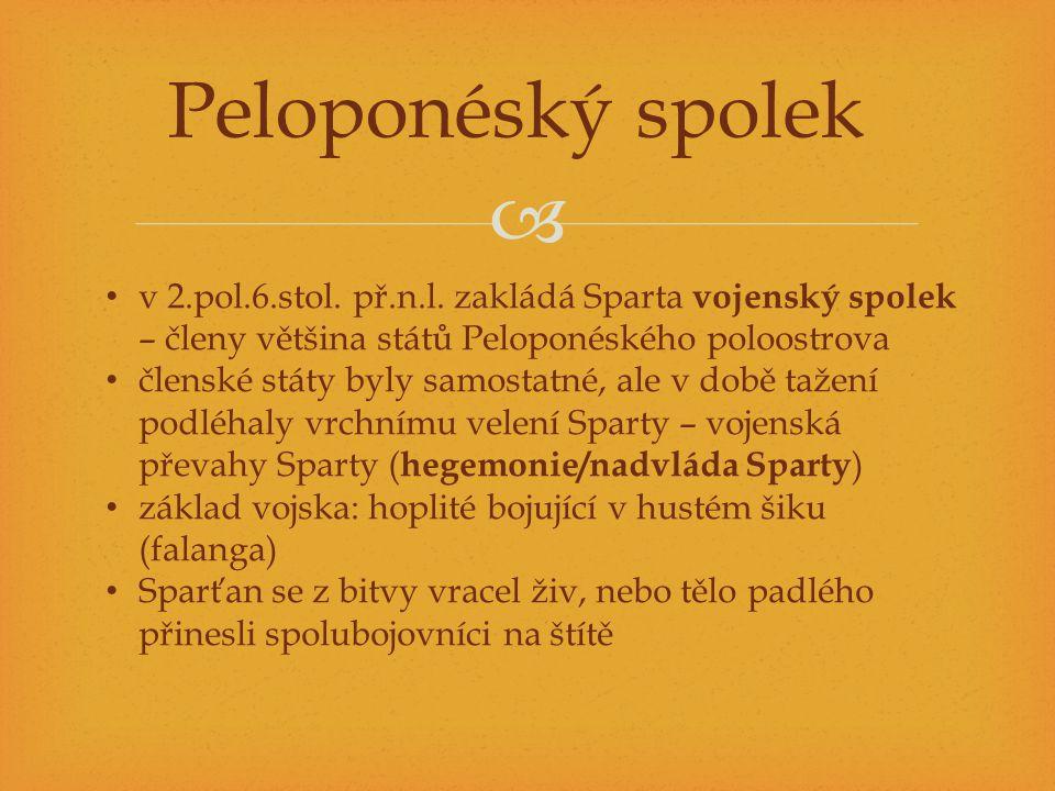  Peloponéský spolek v 2.pol.6.stol. př.n.l. zakládá Sparta vojenský spolek – členy většina států Peloponéského poloostrova členské státy byly samosta