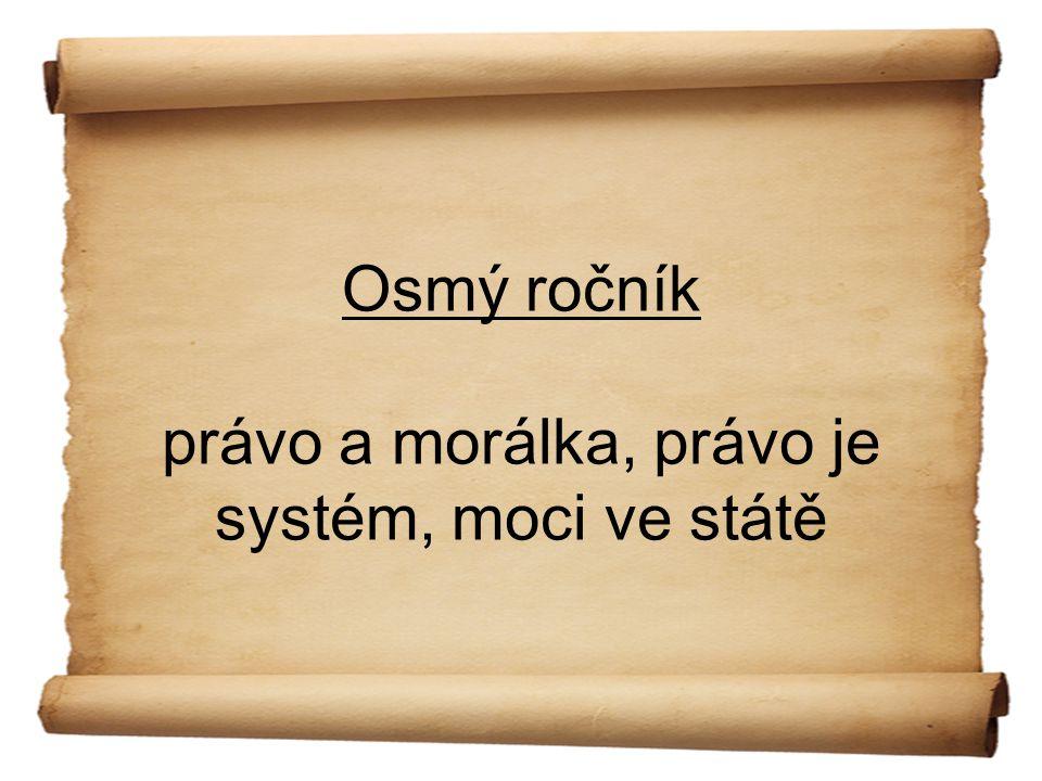 Osmý ročník právo a morálka, právo je systém, moci ve státě