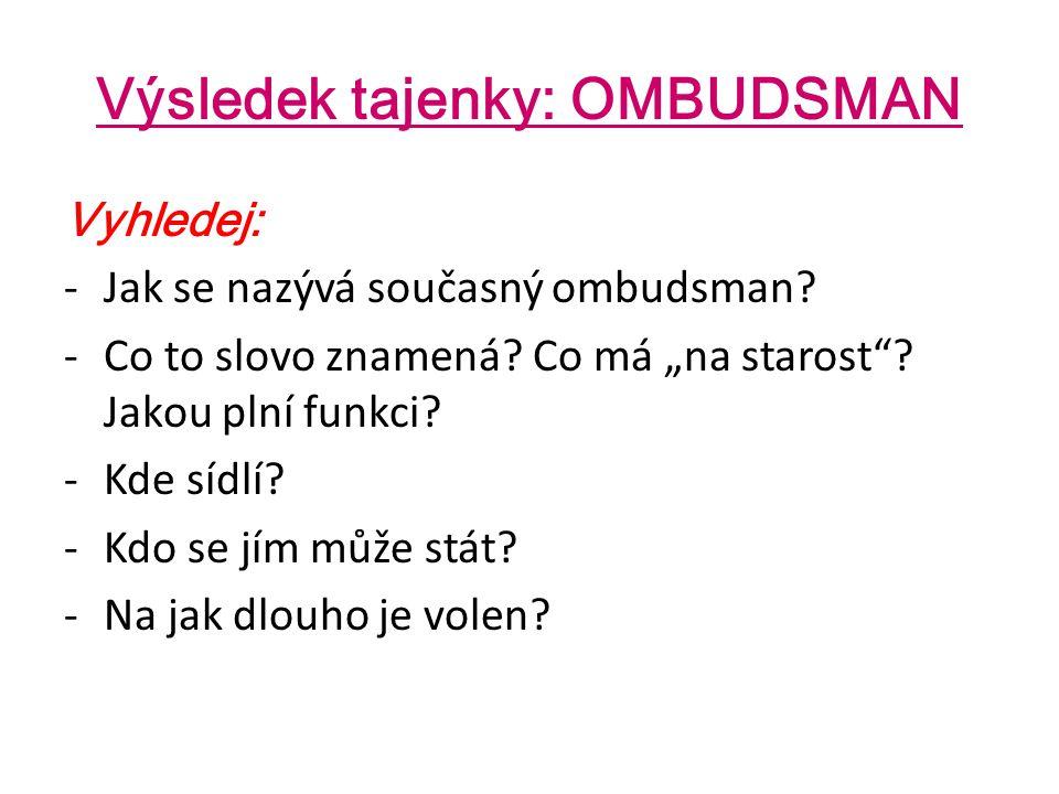 """Výsledek tajenky: OMBUDSMAN Vyhledej: -Jak se nazývá současný ombudsman? -Co to slovo znamená? Co má """"na starost""""? Jakou plní funkci? -Kde sídlí? -Kdo"""
