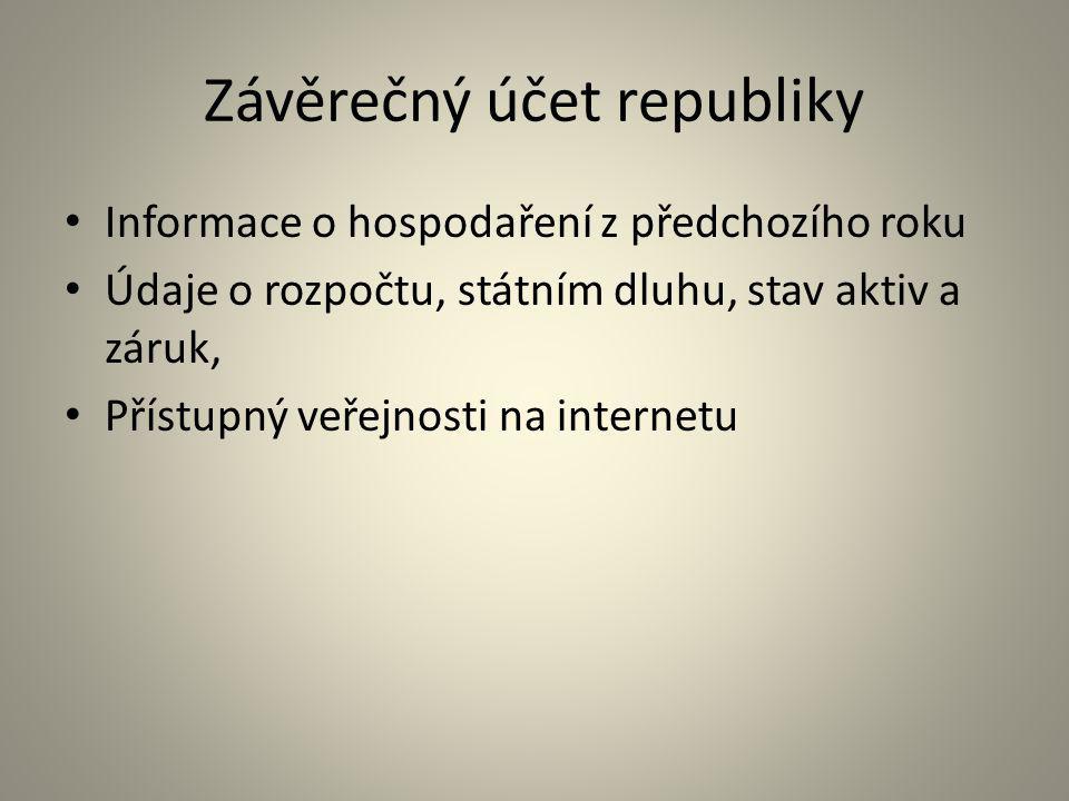 Závěrečný účet republiky Informace o hospodaření z předchozího roku Údaje o rozpočtu, státním dluhu, stav aktiv a záruk, Přístupný veřejnosti na inter