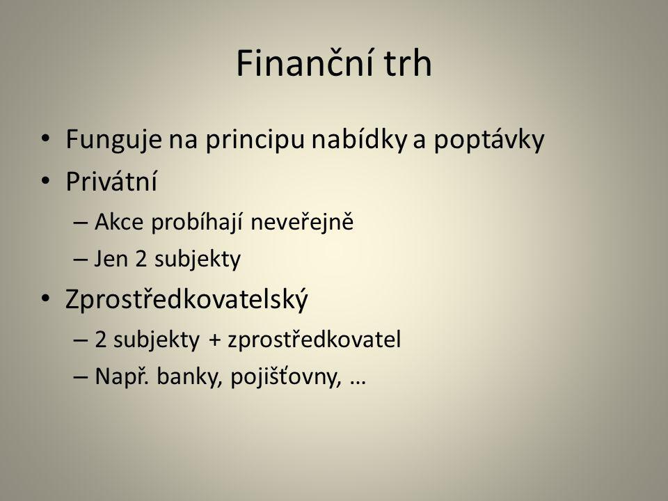 Finanční trh Funguje na principu nabídky a poptávky Privátní – Akce probíhají neveřejně – Jen 2 subjekty Zprostředkovatelský – 2 subjekty + zprostředk