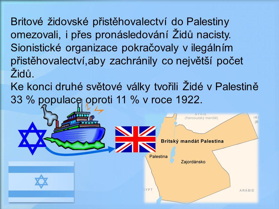 Britové židovské přistěhovalectví do Palestiny omezovali, i přes pronásledování Židů nacisty.