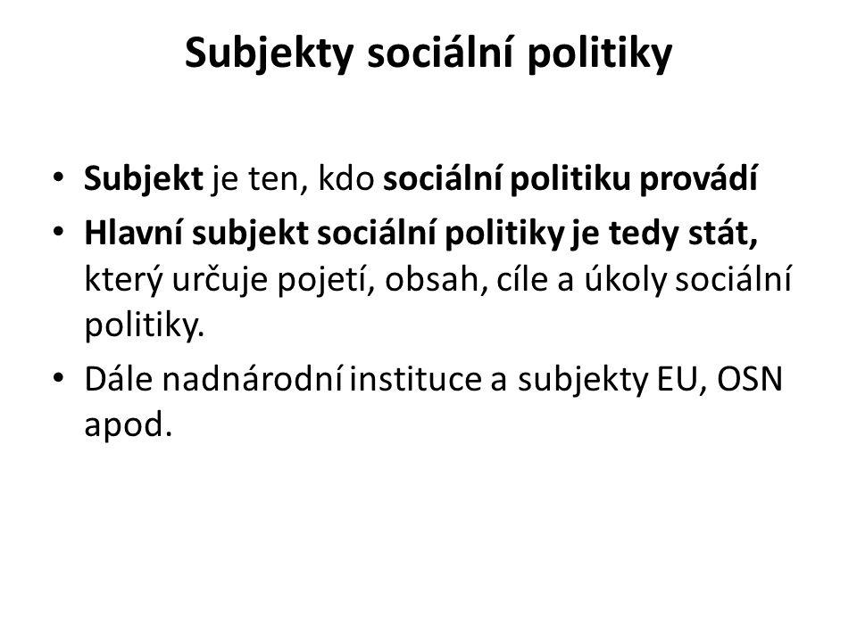 Subjekty sociální politiky Subjekt je ten, kdo sociální politiku provádí Hlavní subjekt sociální politiky je tedy stát, který určuje pojetí, obsah, cí