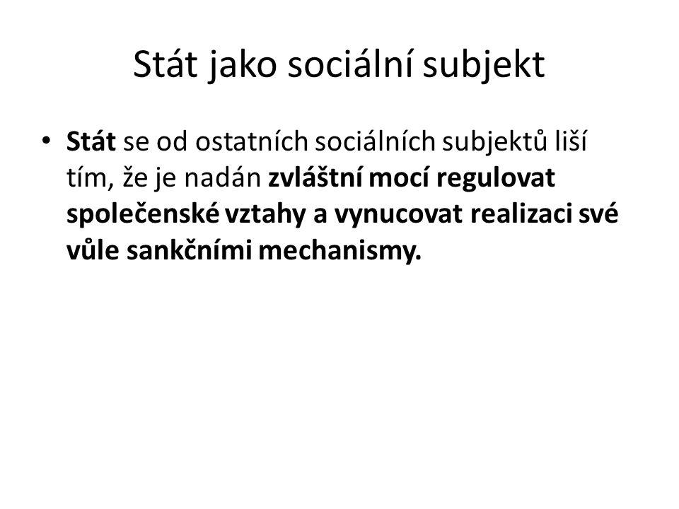 Stát jako sociální subjekt Stát se od ostatních sociálních subjektů liší tím, že je nadán zvláštní mocí regulovat společenské vztahy a vynucovat reali