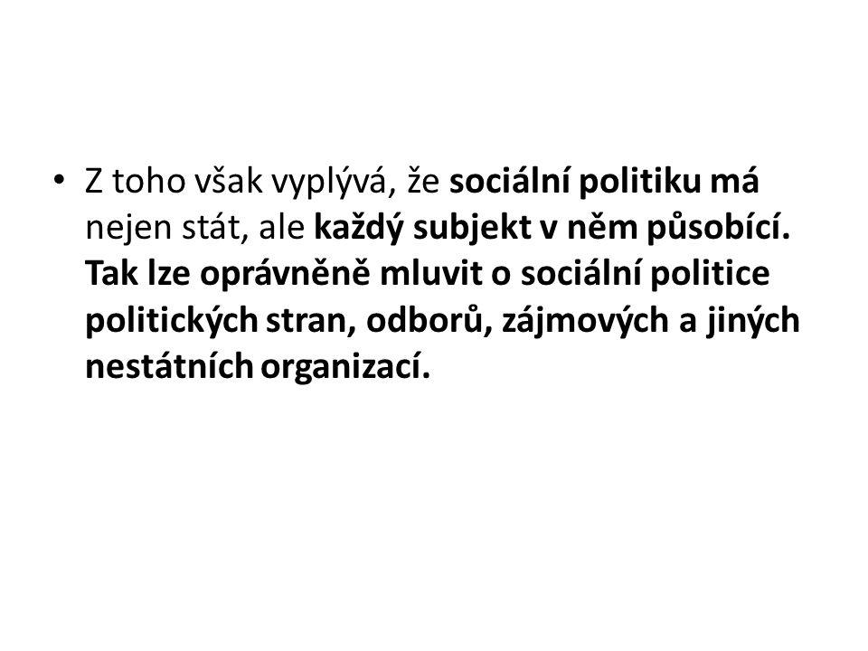 Z toho však vyplývá, že sociální politiku má nejen stát, ale každý subjekt v něm působící. Tak lze oprávněně mluvit o sociální politice politických st