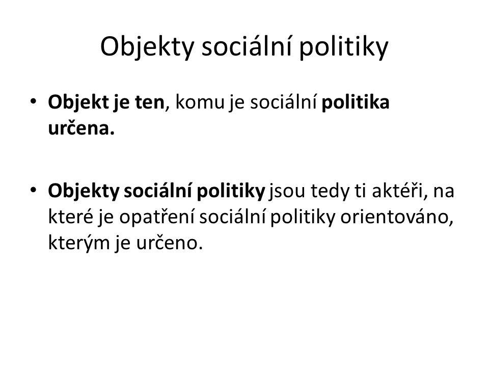 Objekty sociální politiky Objekt je ten, komu je sociální politika určena. Objekty sociální politiky jsou tedy ti aktéři, na které je opatření sociáln
