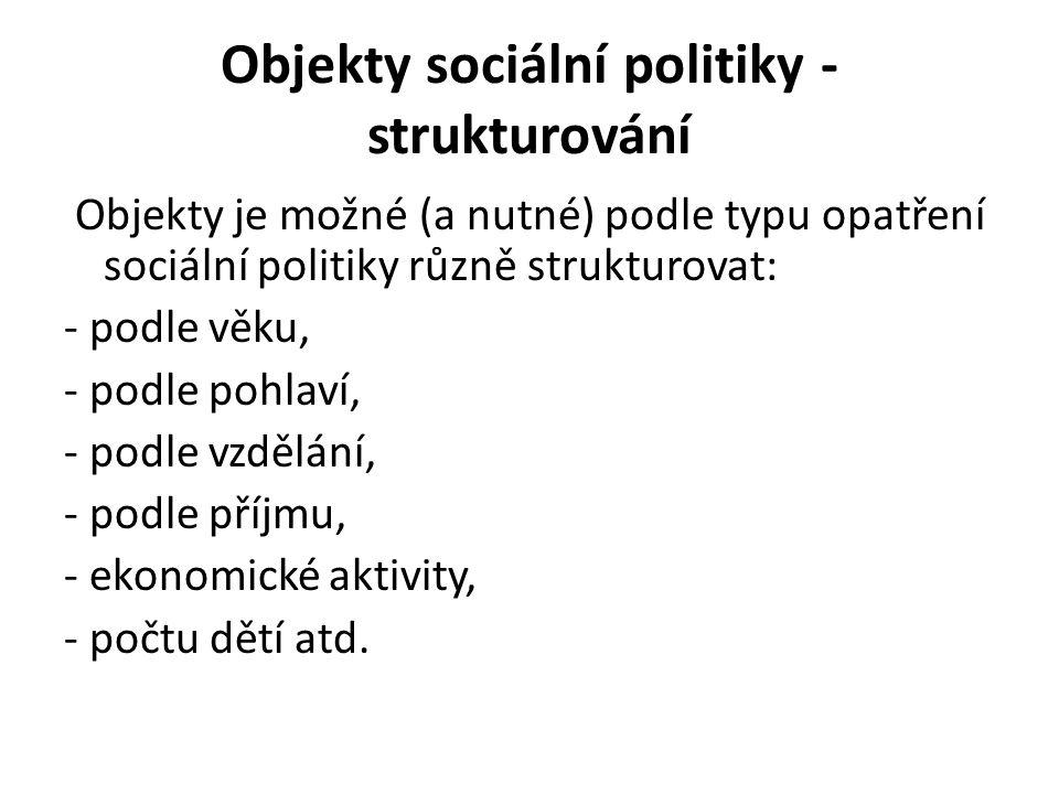 Objekty sociální politiky - strukturování Objekty je možné (a nutné) podle typu opatření sociální politiky různě strukturovat: - podle věku, - podle p