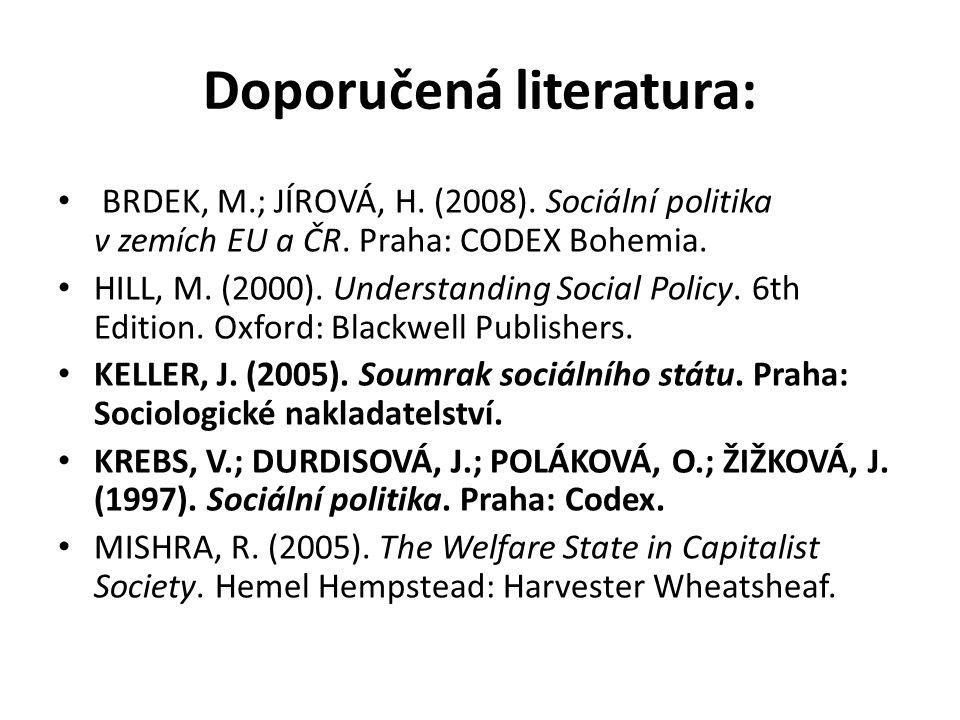 Doporučená literatura: BRDEK, M.; JÍROVÁ, H. (2008). Sociální politika v zemích EU a ČR. Praha: CODEX Bohemia. HILL, M. (2000). Understanding Social P