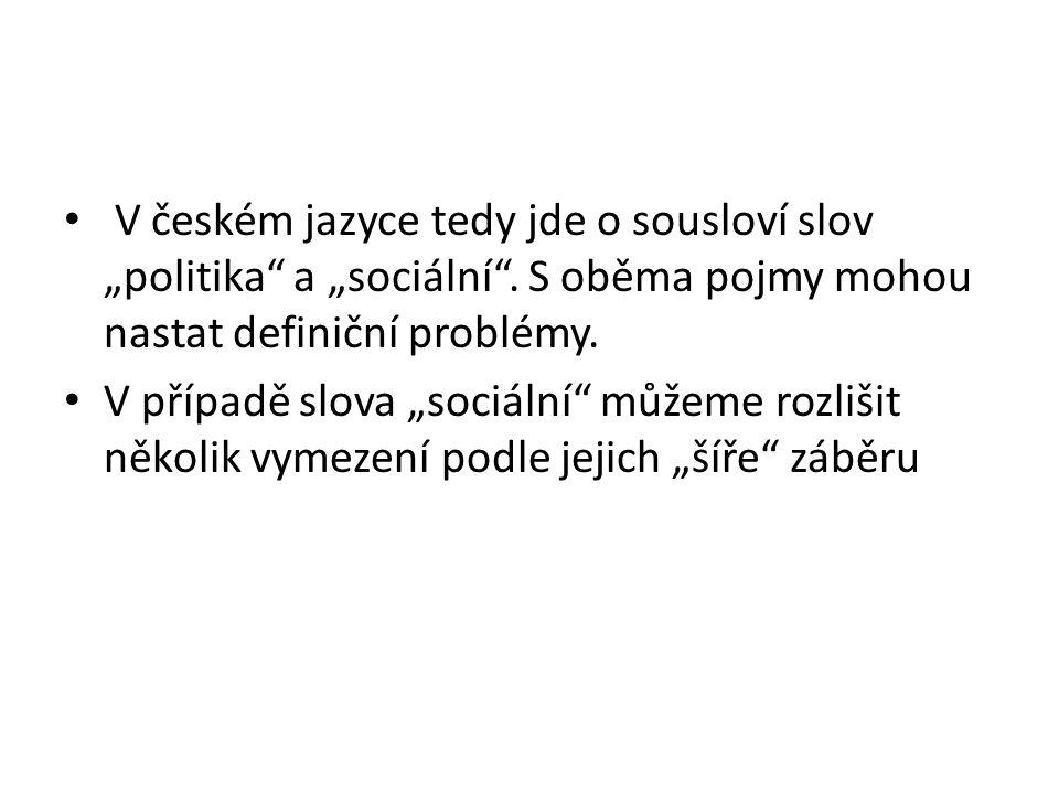 """V českém jazyce tedy jde o sousloví slov """"politika"""" a """"sociální"""". S oběma pojmy mohou nastat definiční problémy. V případě slova """"sociální"""" můžeme roz"""