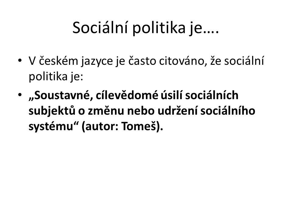 """Sociální politika je…. V českém jazyce je často citováno, že sociální politika je: """"Soustavné, cílevědomé úsilí sociálních subjektů o změnu nebo udrže"""
