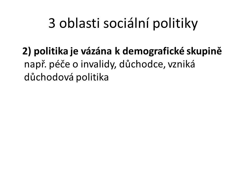3 oblasti sociální politiky 2) politika je vázána k demografické skupině např. péče o invalidy, důchodce, vzniká důchodová politika