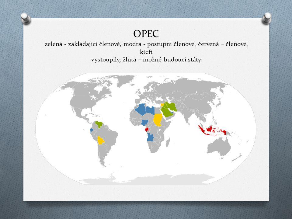 OPEC zelená - zakládající členové, modrá - postupní členové, červená – členové, kteří vystoupily, žlutá – možné budoucí státy